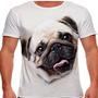 Camiseta Cachorro Pug Bege Masculina
