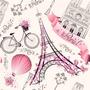 Papel De Parede Feminino Paris Rosa Adesivo Vinilico 12 Mts