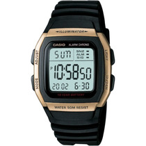 Relogio Casio W-96h Resina Gold Alar Crono 50m W96 Db36