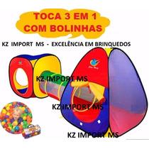 Toca Barraca Infantil 3 Em 1 Com Tunel+ 100 Bolinhas