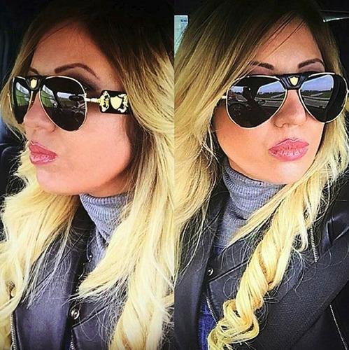 30c54ec84 Óculos Feminino Aviador Moda 2019 Top Couro Proteção Solar