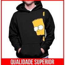 Moletom Bart Simpsons Casaco Canguru Personalizado Com Capuz