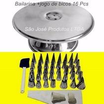 Bailarina Para Decorar Bolo+kit De Bicos P/ Confeitar 16 Pcs