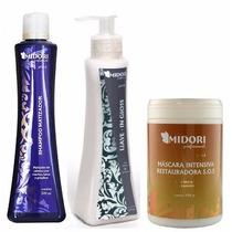 Kit Shampoo Matizador+leave In Gloss+mascara Sos 1kg Midori