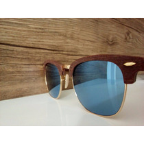 Óculos De Sol Clubmaster Wood Madeira Espelhado Frete Grátis