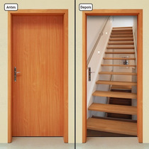 Adesivo Decorativo De Porta - Escada De Madeira - 125mlpt