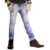 Calça Jeans Claro Infantil Menino Desbotada Com Elastano J