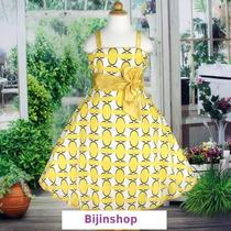 Vestido Infantil Festa/ Princesa Estampado Amarelo Ou Azul