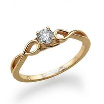 Anel Solitário Ouro 18k! Diamante Central De 10 Pontos
