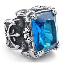 Anel Titânio Com Zircônio Azul