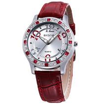 Relógio Feminino Vermelho Importado Barato Skone Strass Sk01