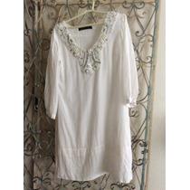 Vestido Branco Tunica Bordado Algodão Leve Zara Manga 3/4