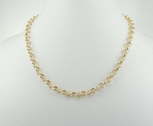 9df82fa15854a Gargantilha Cordão Feminina Elo Portugues 50cm 5,5g Ouro 18k