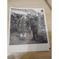 Foto Postal Antiga Com Dedicatória Alemã ( 2 Crianças)