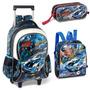 Kit Escolar Fast Machine Carros Completo Medio Azul