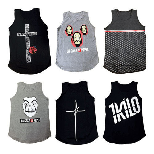 Kit 3 Camiseta Regata Masculina Long Line Swag Top e83ae0de70b