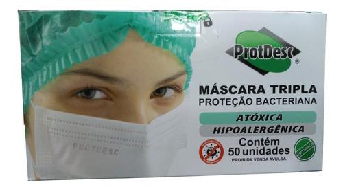 Mascara Tipo Cirurgica Descartavel Cor Branca Protdesc