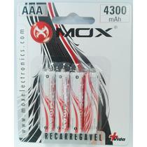Pilha Bateria Palito Aaa 4300 Mah C/4 Mox Recarregável