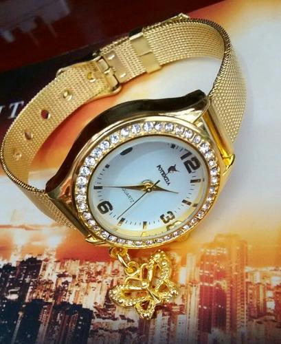 63dec6b3cfd Relógio Feminino Dourado Luxo Resistente E Barato