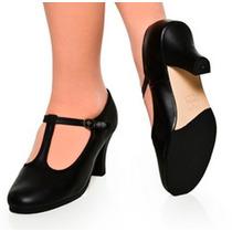 Sapato Para Dança De Salão Mod Boneca Em Couro Capezio
