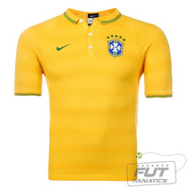 Polo Nike Brasil Cbf League Authentic Amarelo - Futfanatics
