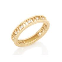Anel Meia Aliança Detalhes Quadrados Ouro Rommanel 512096