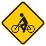 Placa De Trânsito Ciclista Em Mdf - 35 X 35 Cm - Quadro