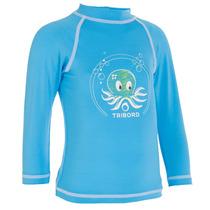 Camisa Mergulho Proteção Solar Infantil Azul Praia Upf 50+