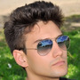 Óculos Estilo Aviador Masculino Azul Degradê Armação Prata