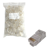 Conector Rj45 Kit Pacote 100 Cat5e Oletech Cabo Rede Plug