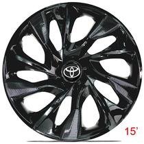 Calota Jogo Aro 15 Ds4 Esportiva Black Para Toyota Etios