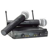 Kit Microfone Duplo S/ Fio Vhf Fm Igreja Eventos Karaokê T87