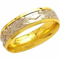 Aliança De Casamento Bodas De Prata Trabalhada Ouro 18k-al96