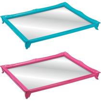2 Bandeja Espelhada Rococó 4,5x45x35 Quadro Turquesa Rosa
