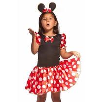 Fantasia Infantil Festa Carnaval Minnie(miney) Vermelha Rosa