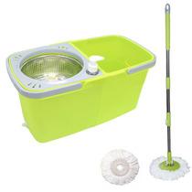 Balde Spin Mop 360 Com Esfregão Cesto Inox Completo - Verde