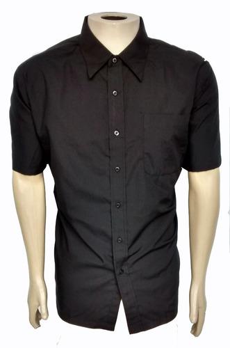 eef26c8942 Camisa Social Masculina Manga Curta Preta Uniforme
