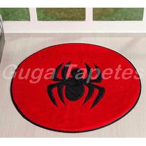 Tapete Vermelho Pelúcia Formato Aranha Spider 65cm Diâmetro