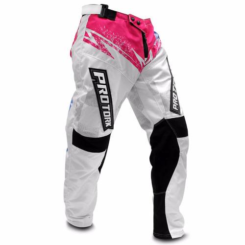 Calça Motocross Pro Tork Insane 5 Trilha Enduro Branco Rosa