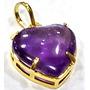 Pingente Coração Pedra Ametista 1,5cm Folheado A Ouro Lindo
