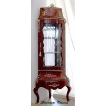 Cristaleira De Canto Luis Xv Apliques Em Bronze E Marchetada
