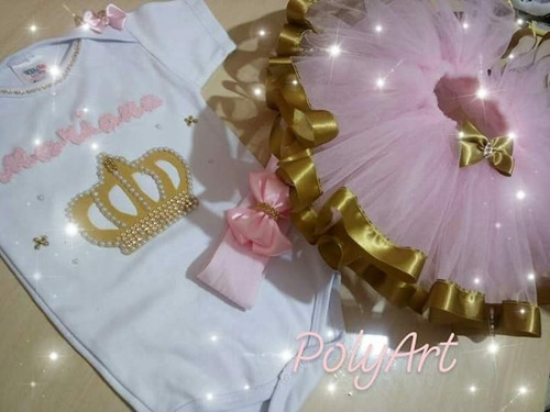 b4257ab88e Roupa Realeza Tutu Luxo   Body Coroa Mesversario aniversario à venda ...