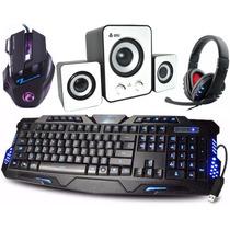 Kit Gamer Teclado + Mouse+ Headset Caixa De Som Subwoofer