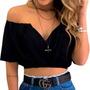 Cropped Top Feminino Ciganinha Blusa Decote V Com Bojo Original