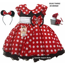 Vestido Infantil Festa Luxo Minnie Vermelha Com Tiara