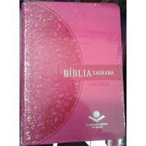 Bíblia Sagrada Feminina Letra Grande Capa Rosa Sbb