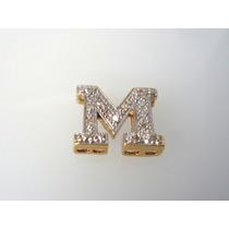 Pingente Letra M De Ouro 18k Com Diamantes J R Joalheiro