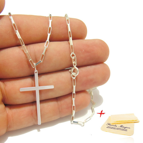 de36bb2a0ea Corrente 80cm Masculina Prata 925 Cordão Cartier Cruz Palito - R  39 ...