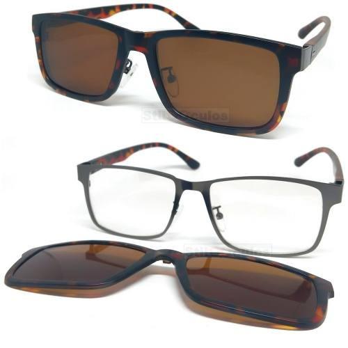 Armação Óculos Grau Clip On 2 Em 1 Metal Acetato Polarizado. R  145 de4b97fa86