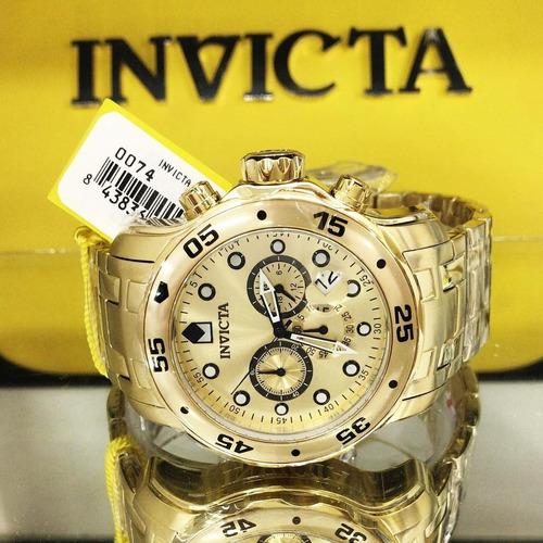 1179baf85e3 Relógio Invicta Pro Diver 0074 Original Dourado B. 18k Caixa